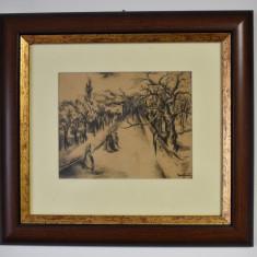 Adam Baltatu (1889-1979) Pictor roman - Strada veche  / acuarela - laviu