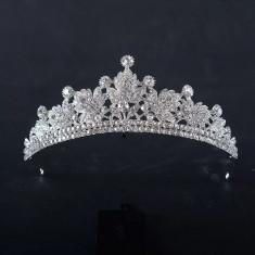 Diadema / tiara mireasa Royal cu cristale tip Swarovski