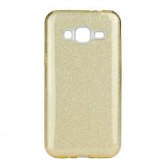 Husa Samsung Galaxy J3 2016 - Gel TPU cu sclipici auriu