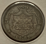 5 Lei 1882, Ag, Romania, detalii bune, RARA!, Argint
