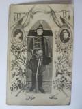 Foto ofiter sarb/fundal familia regala Iugoslava:regele Alexandru/regina Maria, Alb-Negru, Portrete, Romania 1900 - 1950