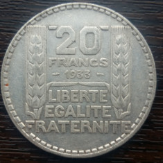 (A154) MONEDA DIN ARGINT FRANTA - 20 FRANCS 1933, 20 GRAME, PURITATE 680/1000
