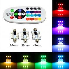Bec SOFIT 36MM. RGB CU TELECOMANDA - 6 LED SMD 5050 RGB 12V (pret/set) ManiaCars