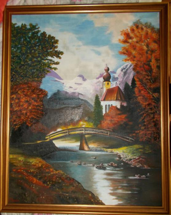 Tablou vechi in ulei pe panza, pictor S. TEODOR, 74x60 cm,rama noua lemn