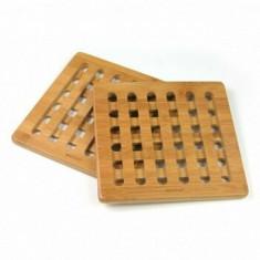 Set 2 suporturi pentru vase fierbinti KingHoff, bambus, forma patrata, KH-1216, Maro