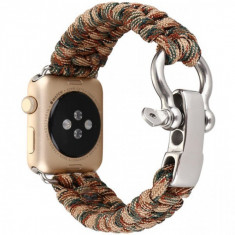 Cumpara ieftin Curea pentru Apple Watch 42 mm iUni Elastic Paracord Rugged Nylon Rope, Brown