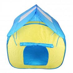 Casuta pliabila pentru copii, PVC + Textil, 120 cm, Albastru/Verde
