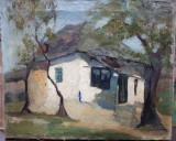 Peisaj cu casa, Nesemnat, Natura, Ulei, Altul