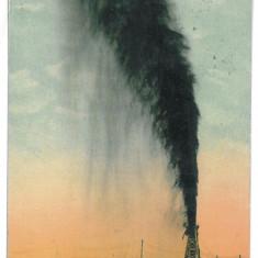 411 - CAMPINA, Prahova, eruption of a probe, Romania - old postcard - used, Circulata, Printata