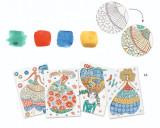 Set creativ de pictură Djeco, Rochii cu flori