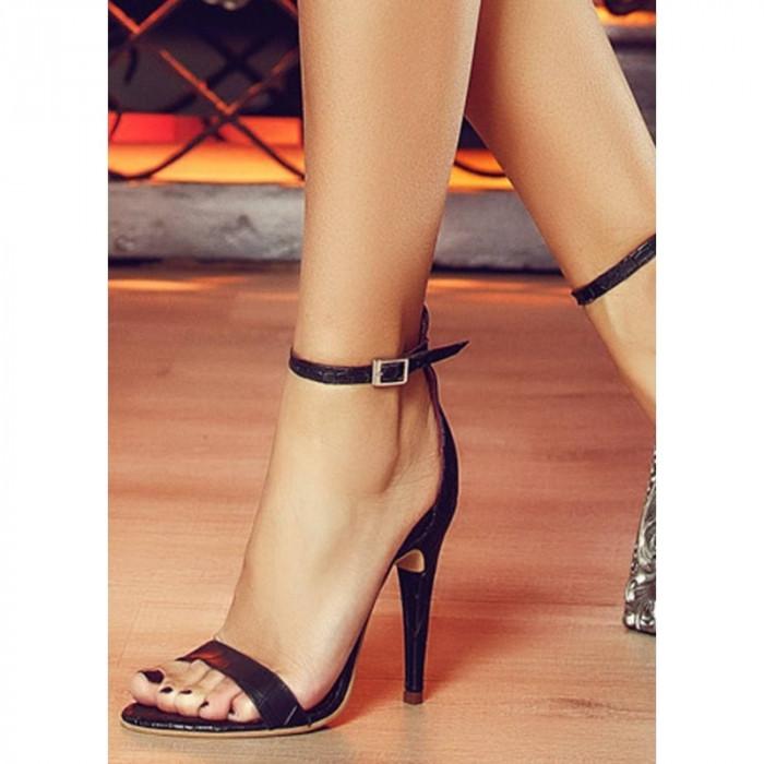 Sandale Adeline Negre Croco