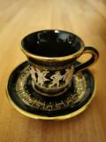 Ceasca cafea cu farfurioara, aurite(set 5 buc.)