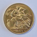 Monede aur 1907 Sovereign in cutie din argint