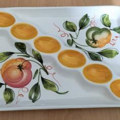 Platou pentru oua / compartimentat - decorativ - ceramica  - Italia - 6 oua
