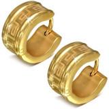 Cumpara ieftin Cercei verigă, aurii, din oțel chirurgical, model de cheie grecească