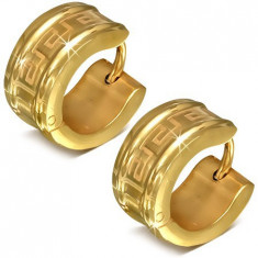 Cercei verigă, aurii, din oțel chirurgical, model de cheie grecească