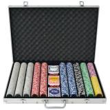 Cumpara ieftin Set de poker cu 1000 de jetoane cu laser din aluminiu