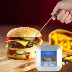 Termometru digital cu sonda, touchscreen, 8 tipuri carne, LCD iluminat, temporizator