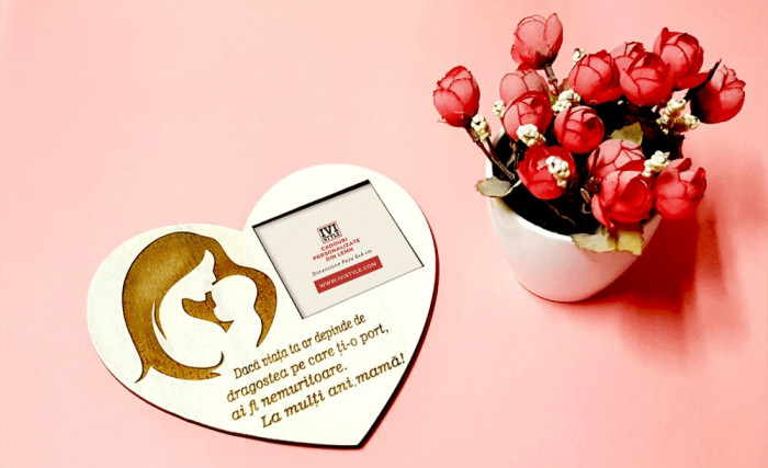 Magnet Lemn Gravat cu Mesaj Personalizat pentru Mama