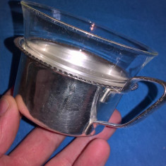 Ceascuta sticla Jena cu suport argintat