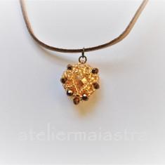 colier inima, lantisor auriu, pandantiv cristal, bijuterii femei, cadou handmade
