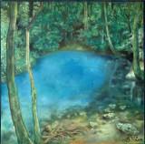 Tablou - ulei pe panza – semnat - 2014 - Lacul Albastru, Natura, Impresionism