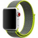 Cumpara ieftin Curea iUni compatibila cu Apple Watch 1/2/3/4/5/6, 42mm, Nylon Sport, Woven Strap, Grey/Electric Green