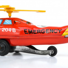 Elicopter Emergency F. D. 8  Urgenta jucarie veche tabla anii '70 Japonia ND