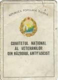 AMS* - INSIGNA + LEGITIMATIE VETERAN DIN RAZBOIUL ANTIFASCIST, 1966, RSR