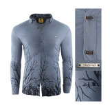 Camasa pentru barbati flex fit gri casual cu guler sedna savage