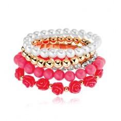 Brățară multiplă - mărgele aurii, albe și roz, trandafiri corai, zirconii transparente