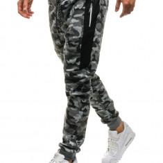 Pantaloni joggers sportivi pentru bărbat camuflaj-gri Bolf QN271