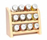 Set 12 recipiente cu condimente si suport suspendabil Compact Natural