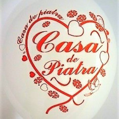 Baloane nunta albe Casa De Piatra Inima 30cm imprimate set 20 buc