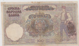 BANCNOTA 100 DINARI 1 MAI 1941 SERBIA/F