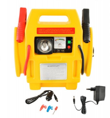 Robot de Pornire Multifunctional 12V - Starter Auto, Voltmetru, Compresor si Lanterna Incorporata, Curent 300/600A foto