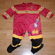 costum carnaval serbare pompier pentru copii de 9-12 luni