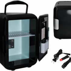 Mini frigider turistic portabil cu functie de racire si incalzire, capacitate 4L, alimentare 12V/220V, culoare Negru