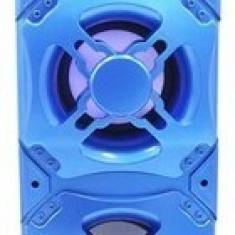 Boxa Portabila QS-35 bluetooth cu lumini, USB, Micro SD, radio FM, Aux, Albastra