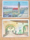 C468-I-Set 2 CP Vederi vechi Hamburg Debarcader si Tunelul Elbei cca 1915., Necirculata, Printata