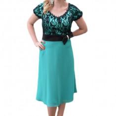 Rochie de seara midi, de culoare turcoaz, cu model din dantela
