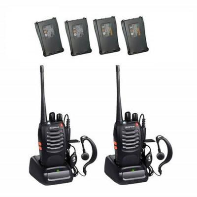 Set 2 Statii radio portabile emisie receptie PROGRAMATE cu 2 acumulatori suplimentari, Walkie Talkie, Baofeng BF-888S, programate in banda de licenta foto