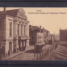 GALATI  STRADA  BRASOVENIEI  TEATRUL  PAPADOPOL  TRAMVAI CIRCULATA 1917 FELDPOST