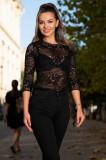 Bluza Venezia neagra din dantela cu insertii de fir irizant