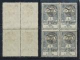 ROMANIA 1919 emisiunea Oradea Inundatia 1L/1f bloc de 4 neuzat MNH
