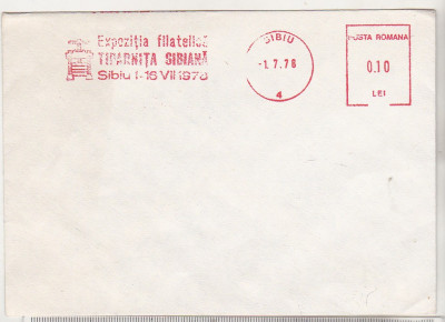 bnk fil Plic Expofil Tiparnita sibiana 1978 - marca de automat foto