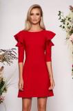 Rochie LaDonna rosie eleganta de zi din stofa usor elastica cu croi in a si volanase la maneca