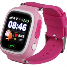 Ceas Smartwatch cu GPS Copii iUni Kid100, Touchscreen, Bluetooth, Telefon incorporat, Buton SOS, Roz