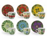 Set 6 cesti de cafea cu farfurioare Mandala 90 ml - Excelsa, Multicolor