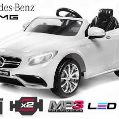 Masinuta electrica pentru copii Mercedes S63 12V Scaun Tapitat, Eva Tyre #Alb